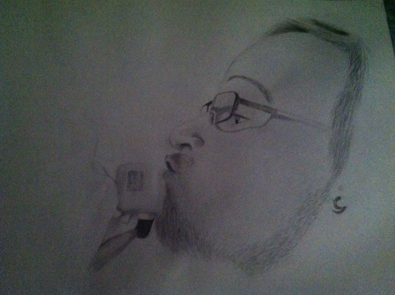 My friend drinking sake. Pencil drawing. Free hand.