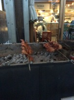 They were roasting the chicken